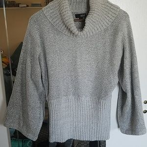 Gray cowl neck sweater with bell sleeves
